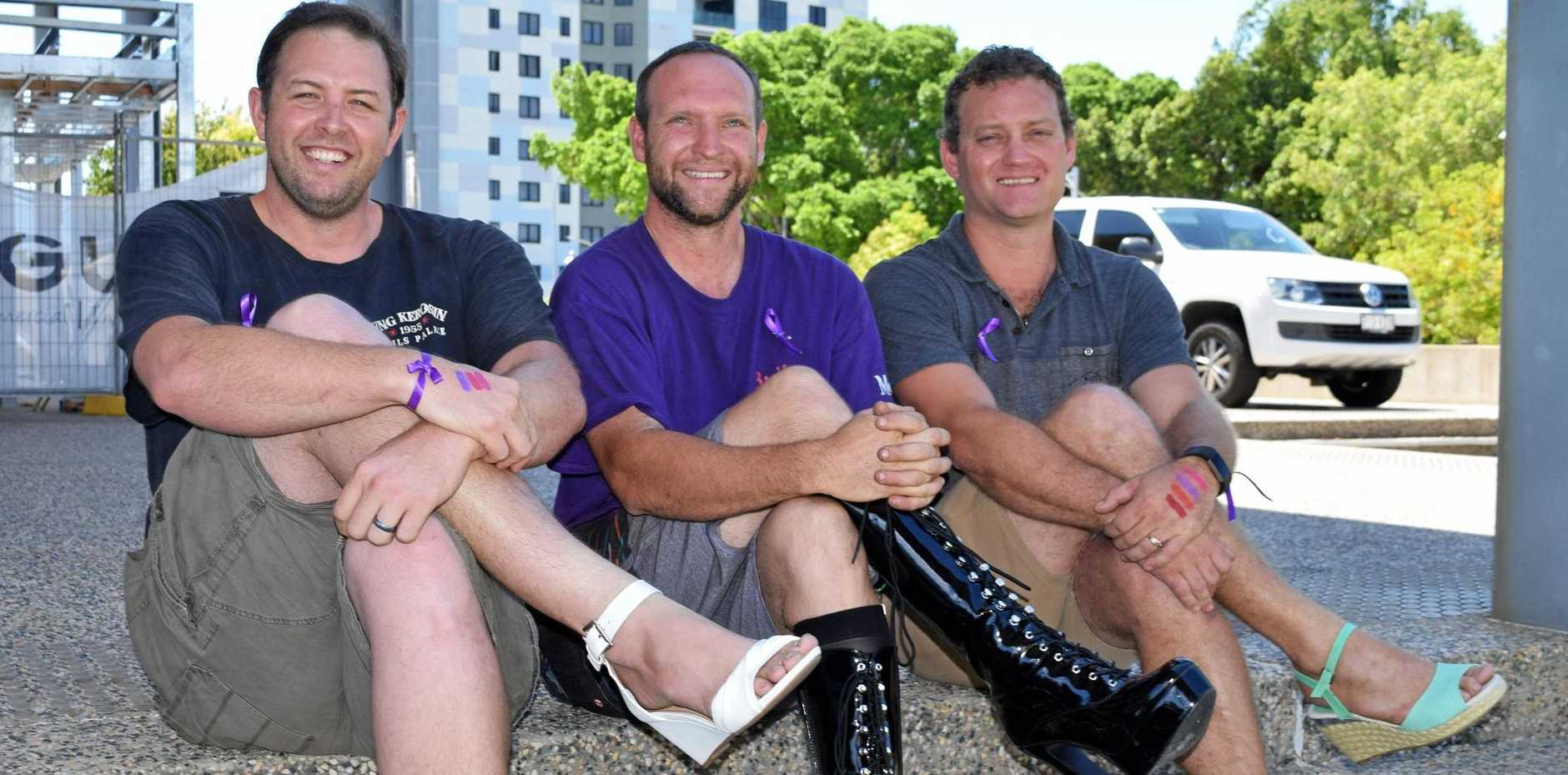 Tim Vaughan, Damien Gately and Jonno Drayton donned high heels to support domestic violence victims.