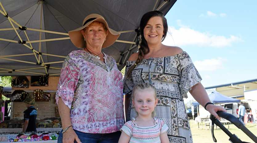 Wendy Hall, Renee Hall, and in front little Willow Hall at the Chinchilla Markets, on Sunday, November 18.