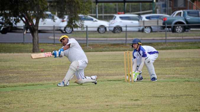 Action from the pitch at South Burnett B-grade cricket