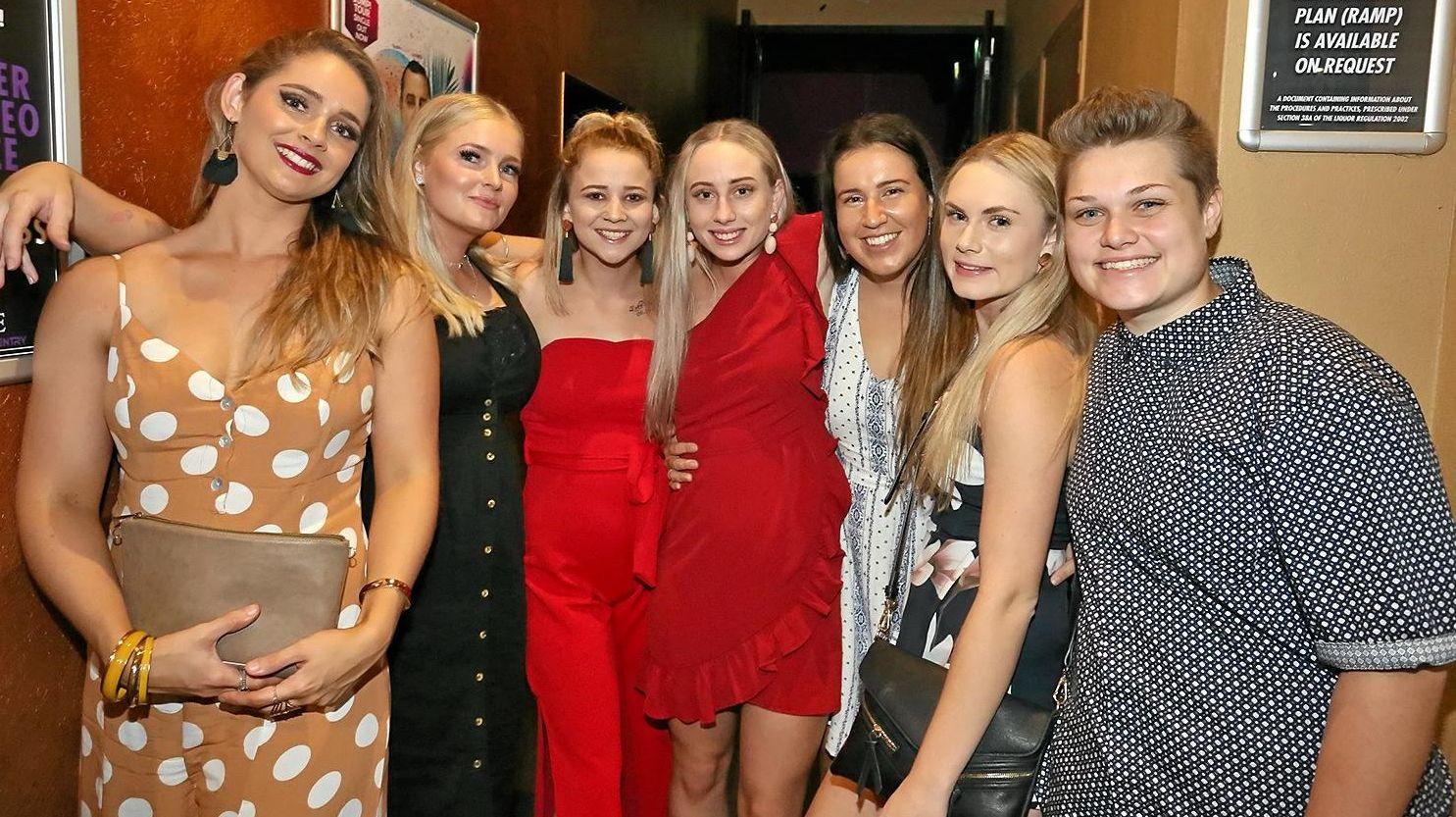 L-R Shelby McNamara, Danielle Ford, Emma Jenkins, Kate Ward, Olivia Rayner, Rachael Beckman and Mikaela Beckman at Zodiac Nightclub.