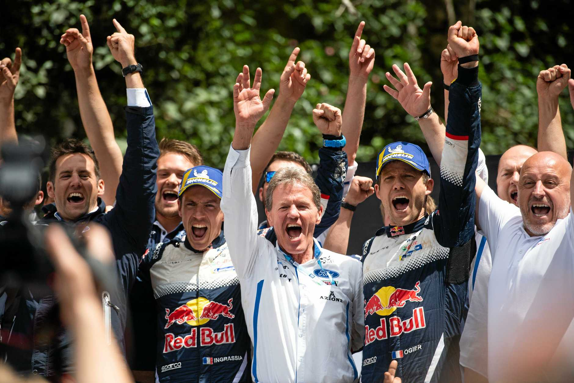 Ford M-Sport celebrate Sebastien Ogier and Julien Ingrassia's  sixth FIA WRC title at Kennards Hire Rally Australia.