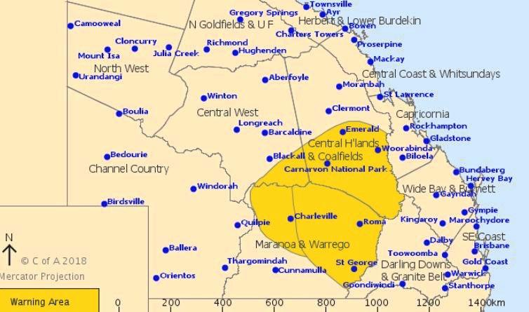 Thunderstorms and hail is expected for parts of CQ today.