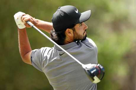 Abraham Ancer tees off during the final round.