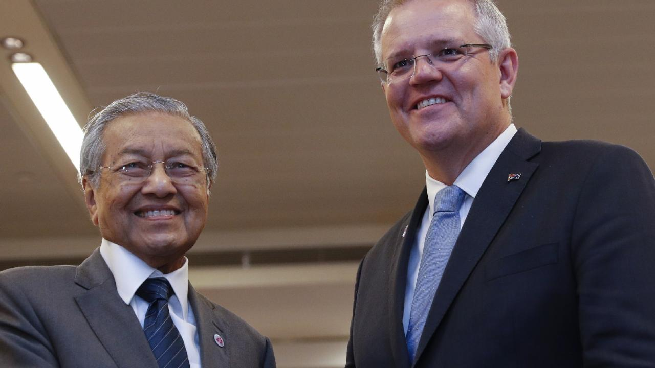 Malaysian Prime Minister Mahathir Mohamad with Australian Prime Minister Scott Morrison. Picture: Wallace Woon