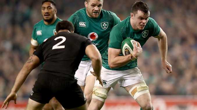 James Ryan of Ireland makes a break during the match between the All Blacks and Ireland.