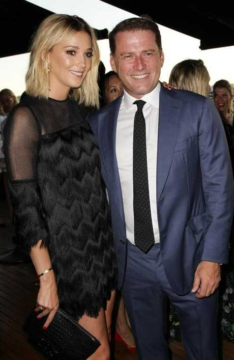Jasmine Yarbrough and Karl Stefanovic at the Harpers Bazaar 20th Anniversary Celebration held at Smoke Rooftop Bar in Barangaroo. Picture: Christian Gilles