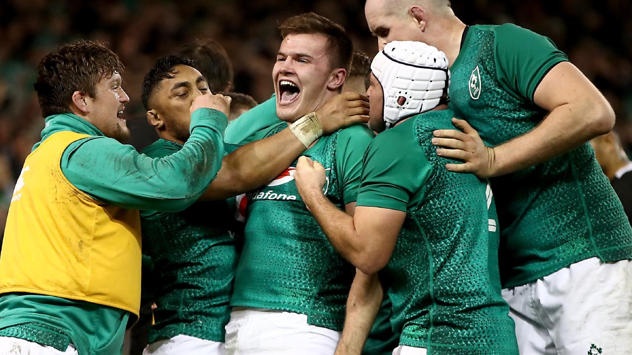 Jacob Stockdale celebrates his try against New Zealand.