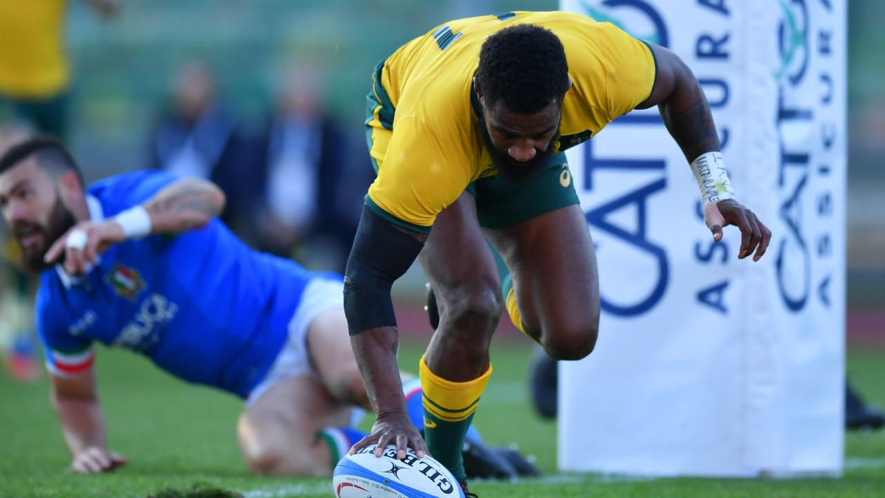 Marika Koroibete touches down to score the Wallabies' opening try. Picture: Getty