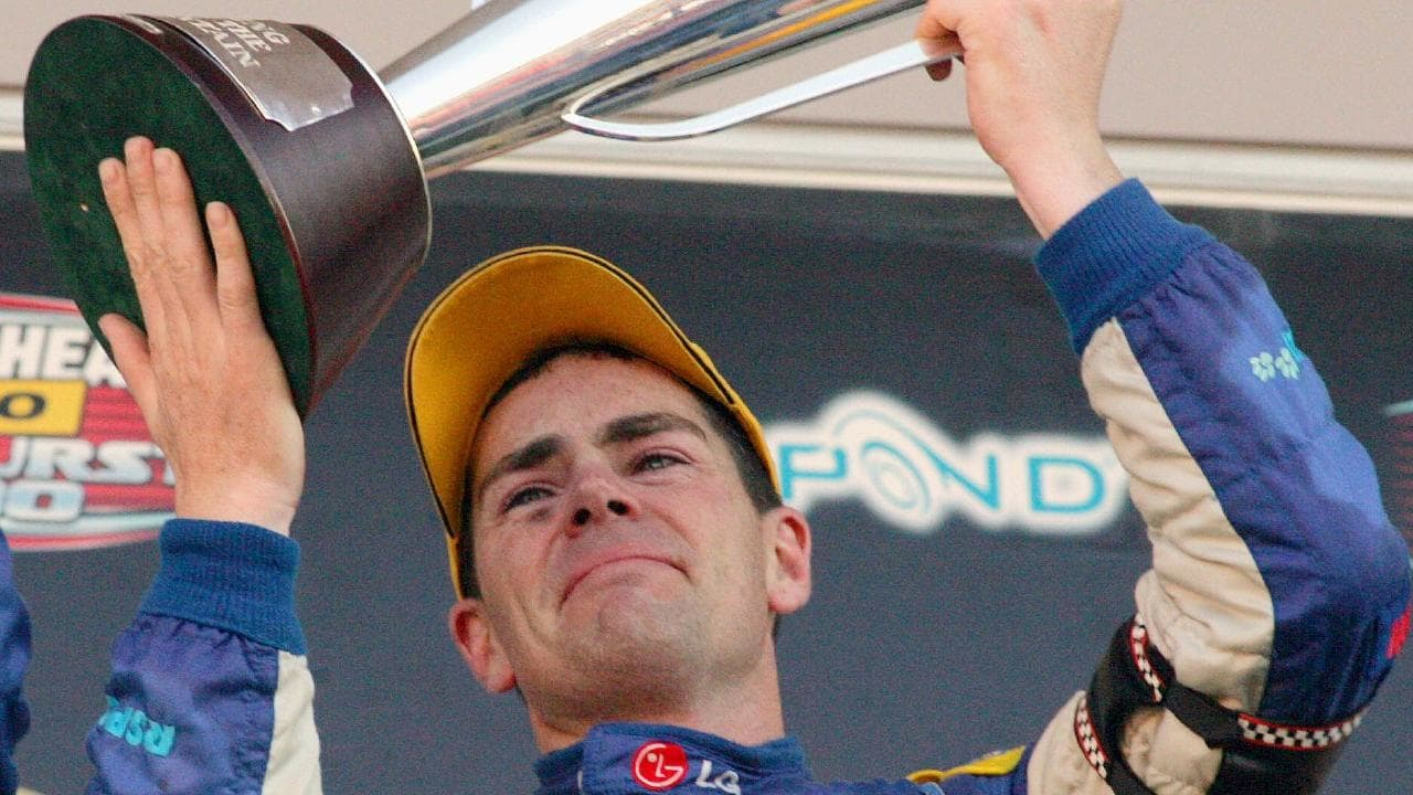 An emotional Craig Lowndes after winning Bathurst in 2006.