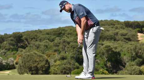 Marc Leishman works on his putting. Picture: Robin Sharrock