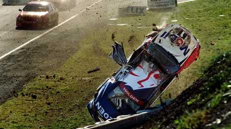 Craig Lowndes crashes spectacularly at Calder Park in 1999. Picture: James Baker