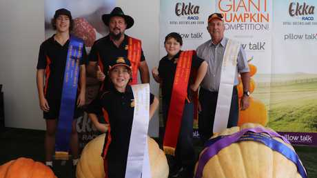 Jordan, Riley, Tony, Dylan and Geoff Frohloff at the Ekka Giant Pumpkin Competition weighing this year.