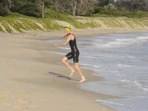 Yamba athlete Lindsay Wall comes out of the water