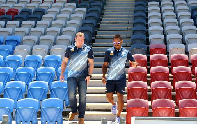 NQ Cowboys' new recruit Ben Barba and football manager Glen Hall were in Mackay to announce the club will take on the Melbourne Storm on March 2.