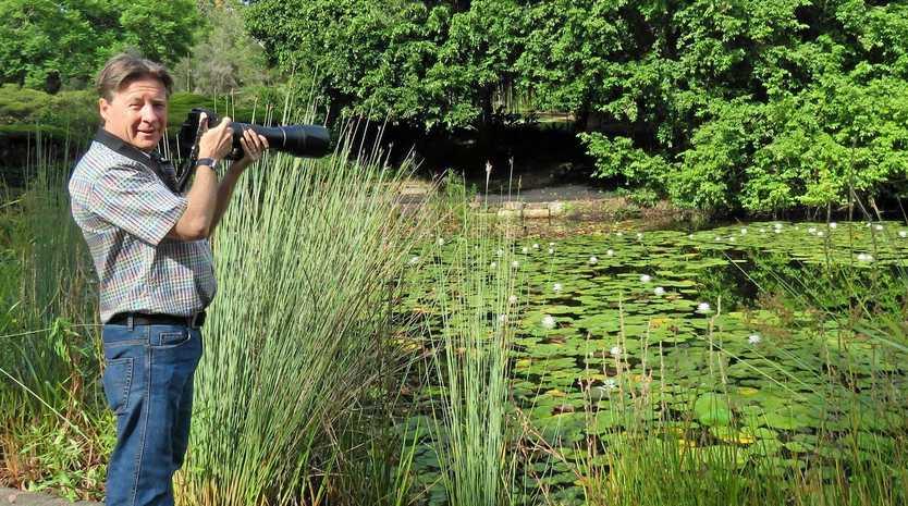Noosa Mayor Tony Wellington, a renowned wildlife photographer, at Noosa Botanic Gardens
