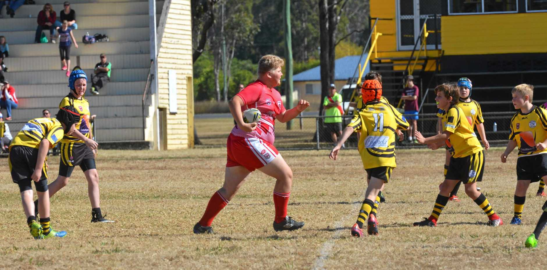 UNSTOPPABLE: Jack Sempf on the attack for the Kingaroy Red Ants under-12 team.