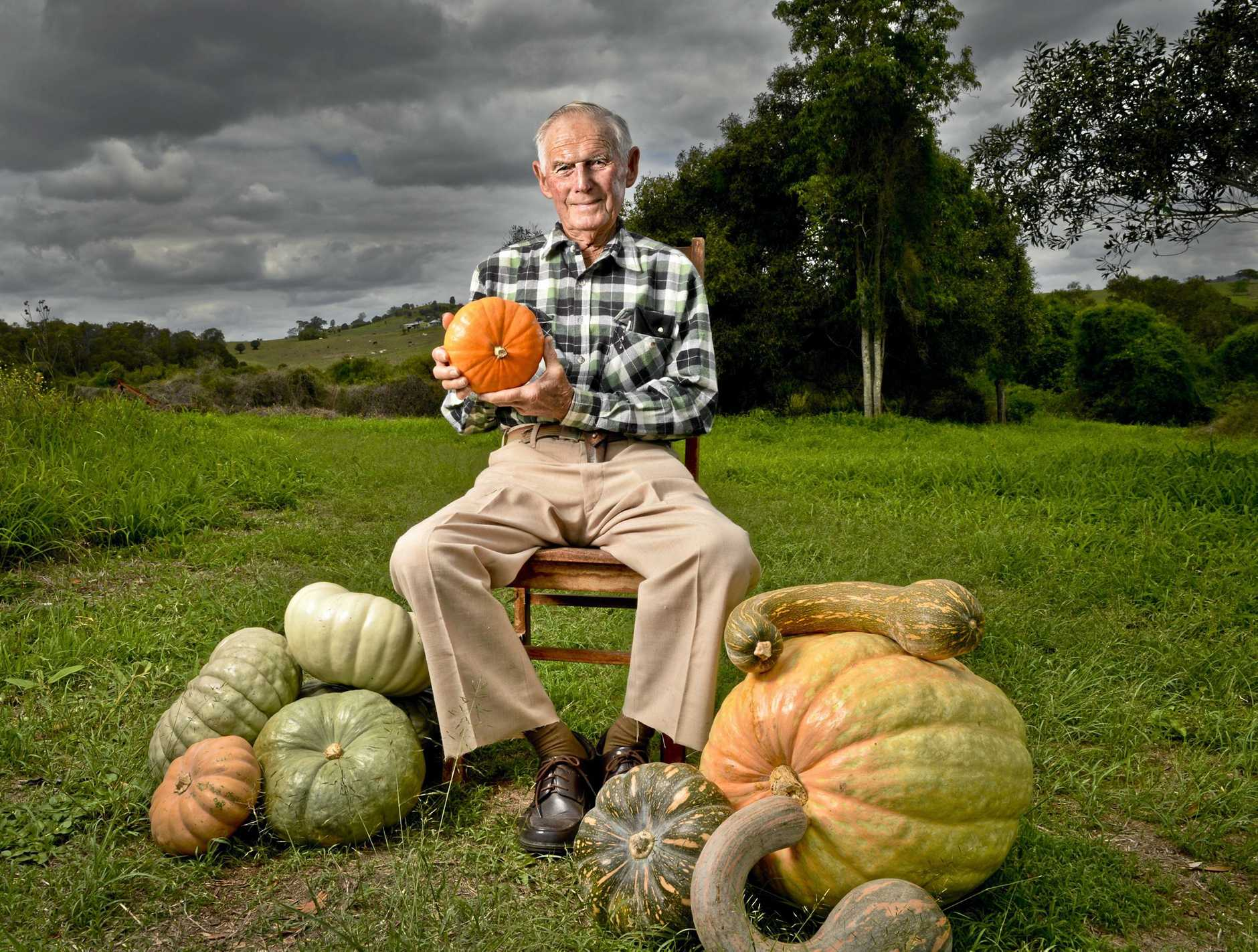 EKKA LEGEND: Syd Haag has been growing pumpkins on his Boonah farm for more than 30 years.