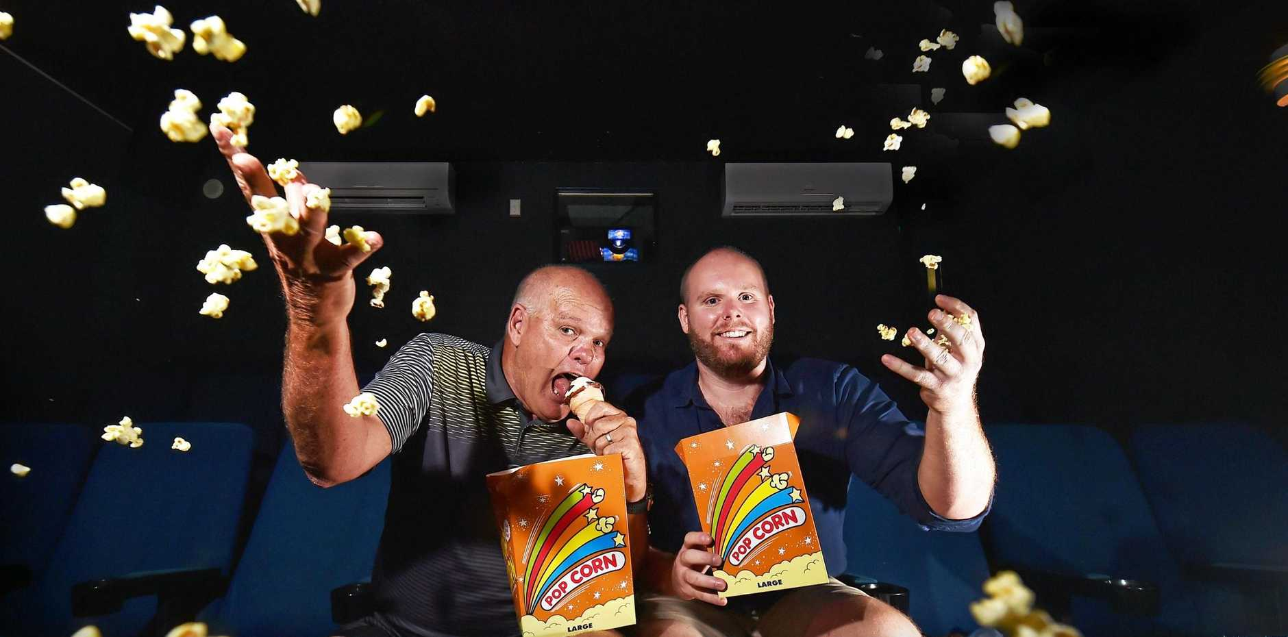 STILL AROUND: Owner of Big Screen Cinemas Caloundra Nick Struik (left) and son Anthony, can host up to 9000 people a week through their cinema.