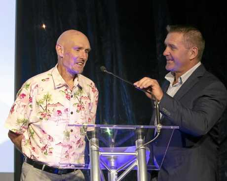 Ipswich coach of the year Peter Reeves chats to City of Ipswich Sports Awards MC Shane Webcke after receiving his award.