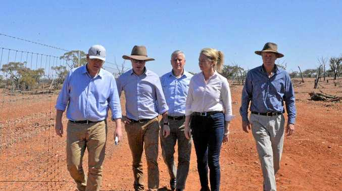 FUNDING: Scott Morrison, Agriculture and Water Resources Minister David Littleproud, Deputy PM Michael McCormack and Deputy Nationals Leader Bridget McKenzie on a visit to western Queensland earlier this year.