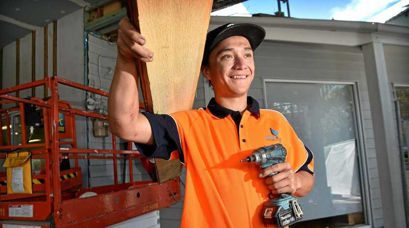 Boydbuilt Constructions apprentice carpenter Kayne Card is busy working on The Wharf complex at Mooloolaba.