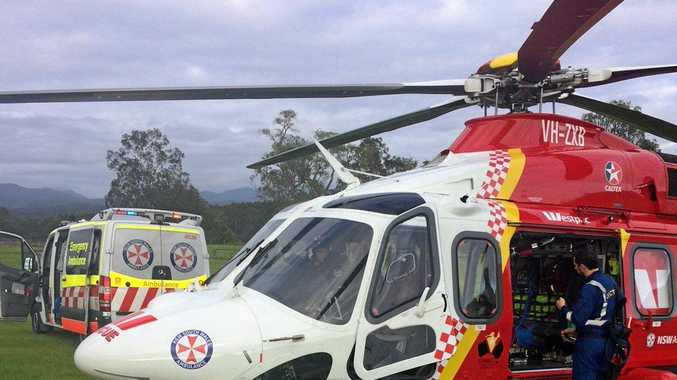 The Westpac Rescue Chopper picks up a patient at Jackadgery