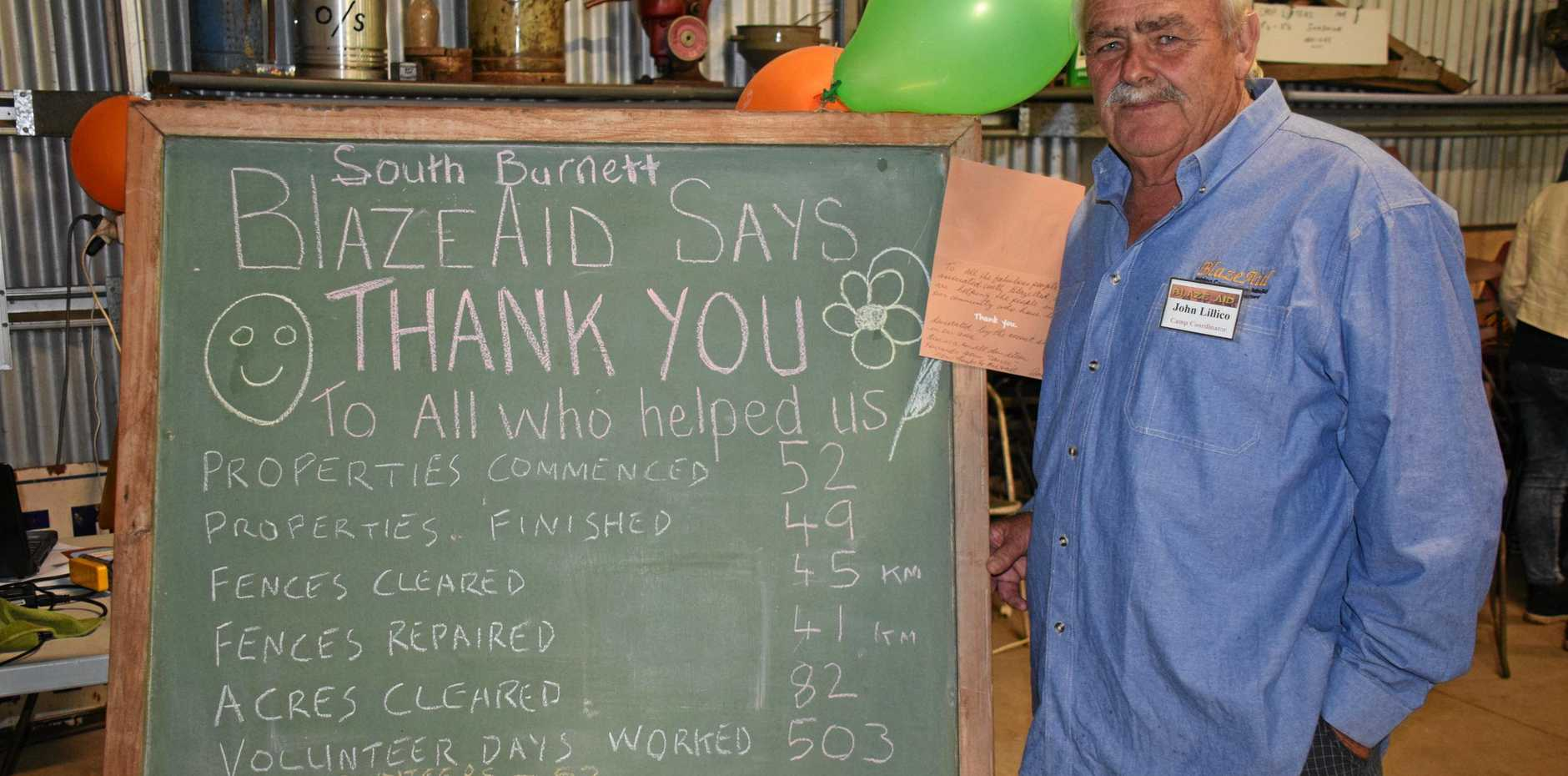 BY THE NUMBERS: BlazeAid coordinator John Lillico praised the great work of volunteers at the Thank You dinner.