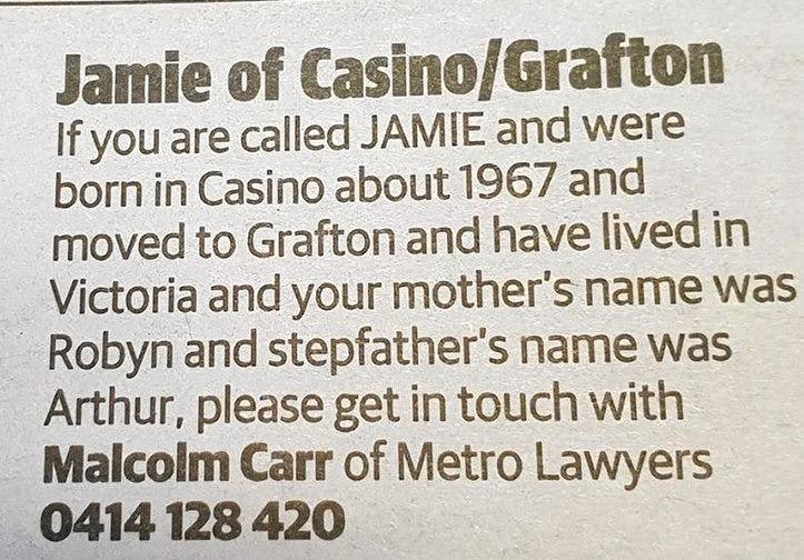 MYSTERY AD: Has anyone seen Jamie?