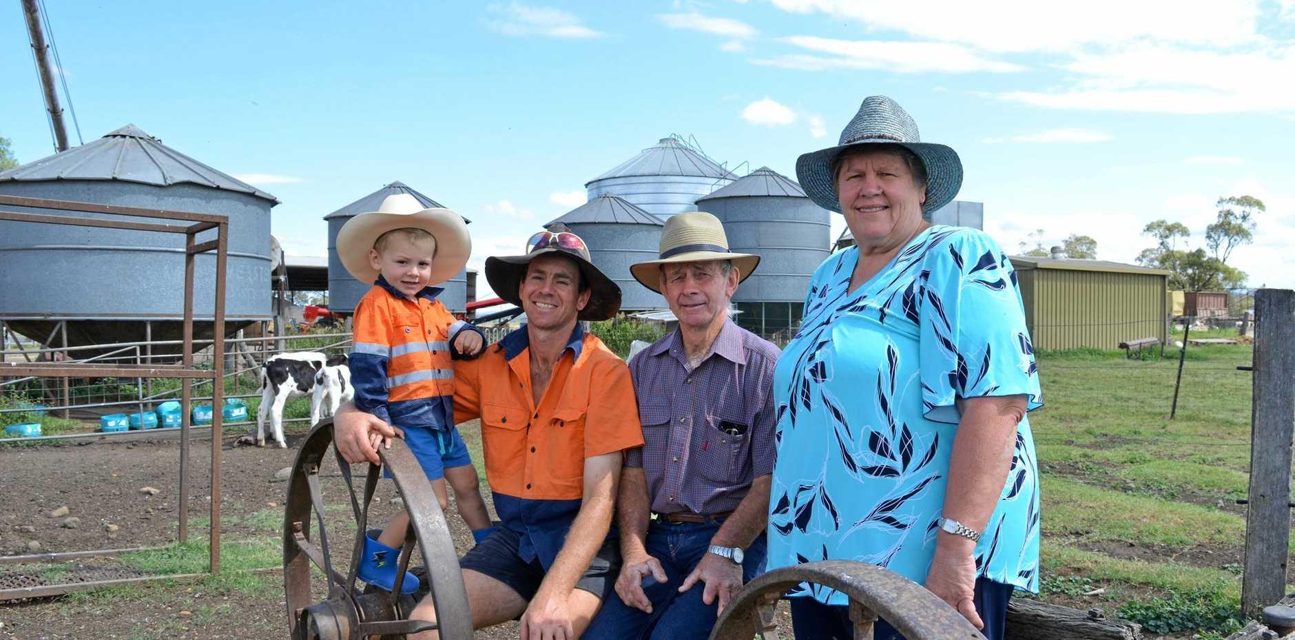 Three Generations of dairy farmers, Daniel, Robert, Bill and Coralie Stewart from Gilabils Holsteins.