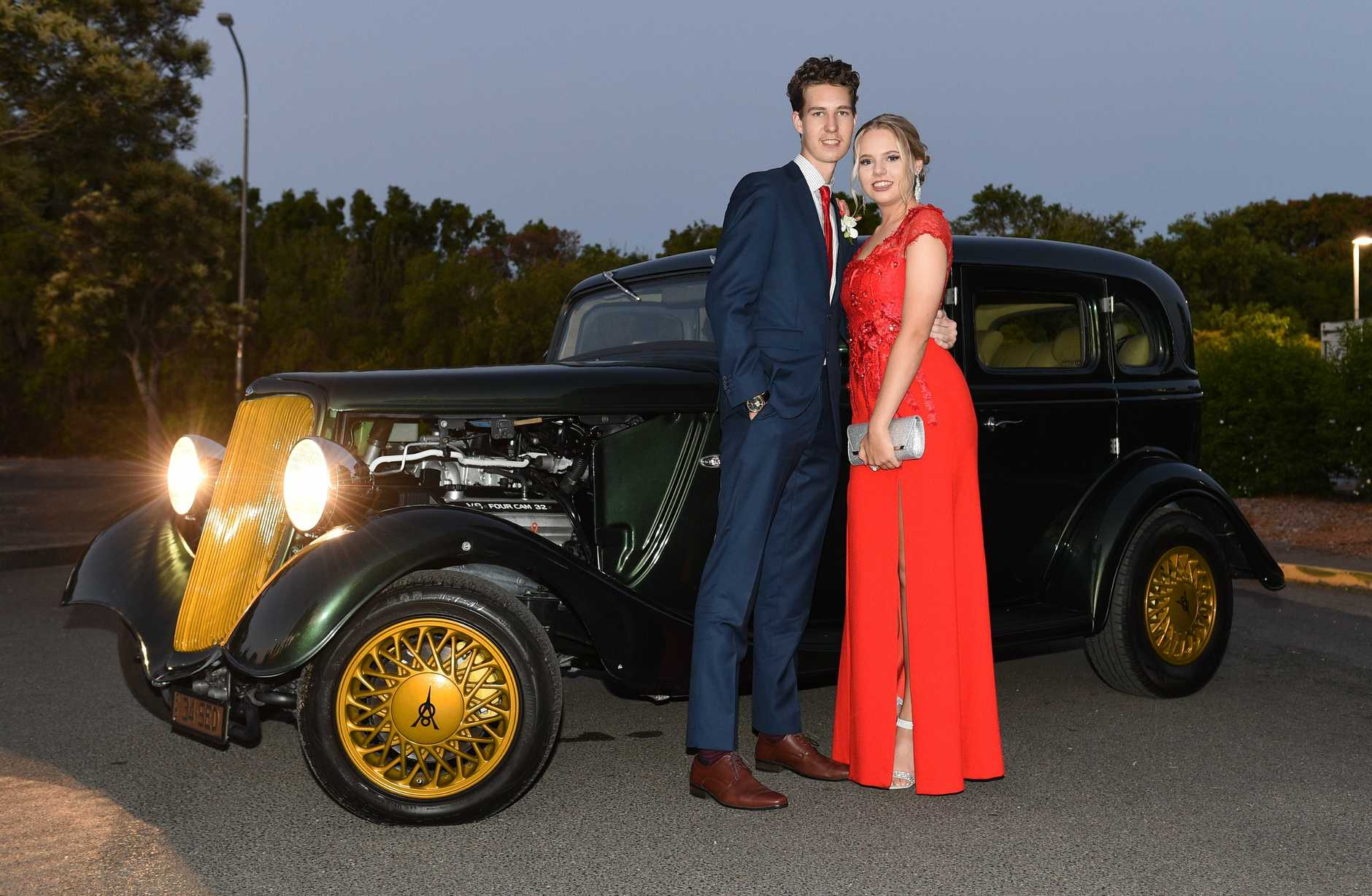 Anton Cross and Caitlin Byrne arriving in style.