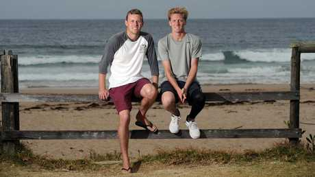 Joel Trist saved his mate Brett Connellan's life after a shark attack while surfing at dusk at Bombo Beach near Kiama. Picture: Simon Bullard