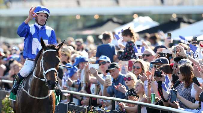 Hugh Bowman and Winx return to scale after winning the Turnbull Stakes at Flemington. Picture: Michael Klein