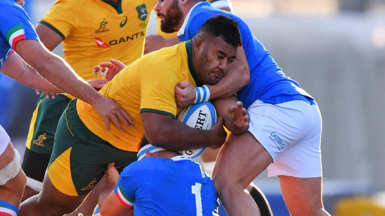 Taniela Tupou in action for the Wallabies during their drought-breaking win against Italy. Picture: Getty