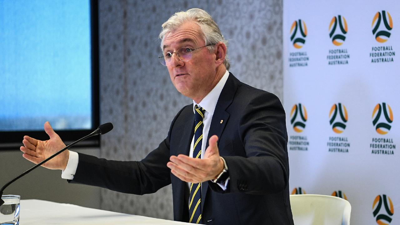 FFA Chairman Steven Lowy delivers his final address. Picture: AAP