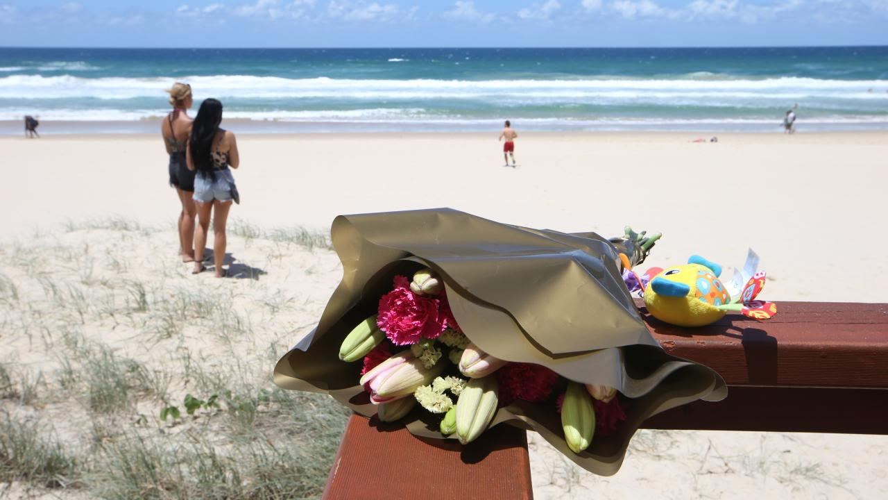 Tributes left for the baby girl who died on the beach at Surfers Paradise. Picture: Glenn Hampson