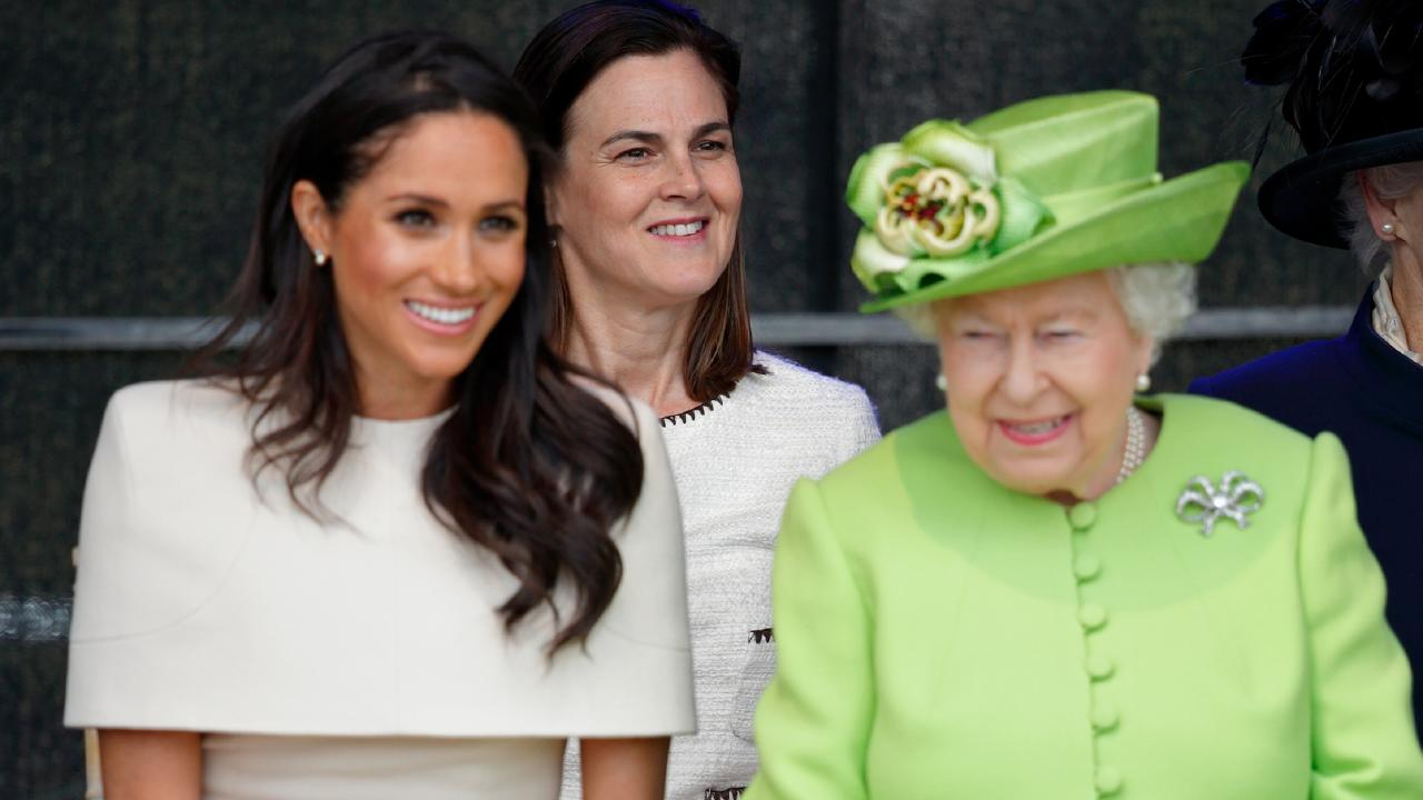 Meghan and the Queen with longtime royal staffer Samantha Cohen. Photo: Max Mumby/Indigo/Getty Images