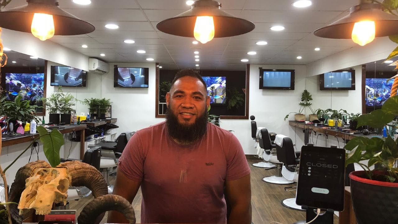 Nicky Pati inside his Slacks Creek shop Spacifik Cuts.
