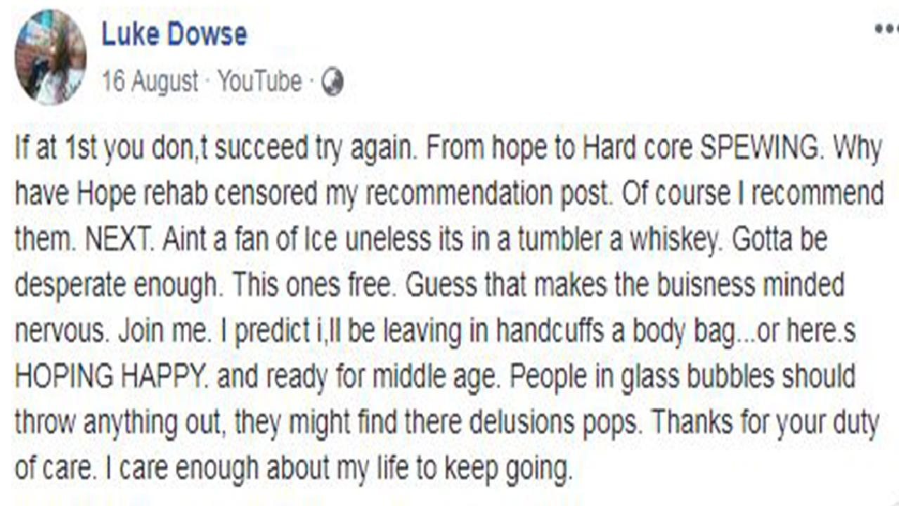 Luke Dowse posted on Facebook he could be 'leaving … in a body bag' three months before he died of a drug overdose in Cambodia.
