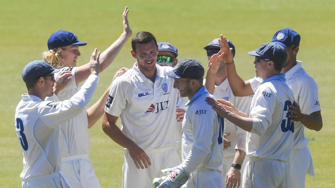Josh Hazlewood celebrates one of his four wickets. Picture: AAP
