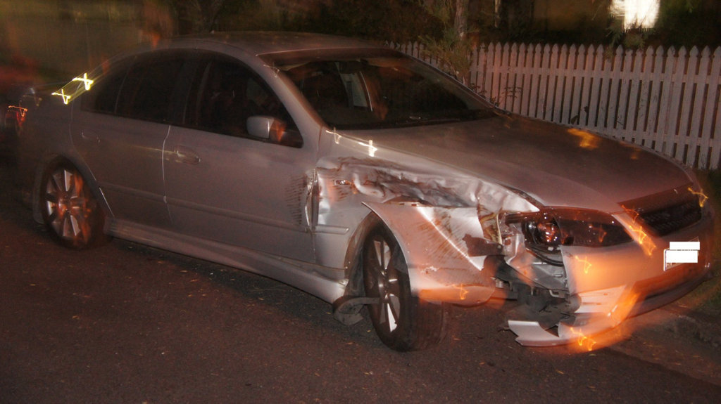 A car allegedly hit by a drink driver in Maryborough on Monday night.