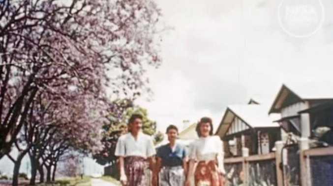 Scenes from the National Australian Film Archive video of the Jacaranda Festival in 1949.