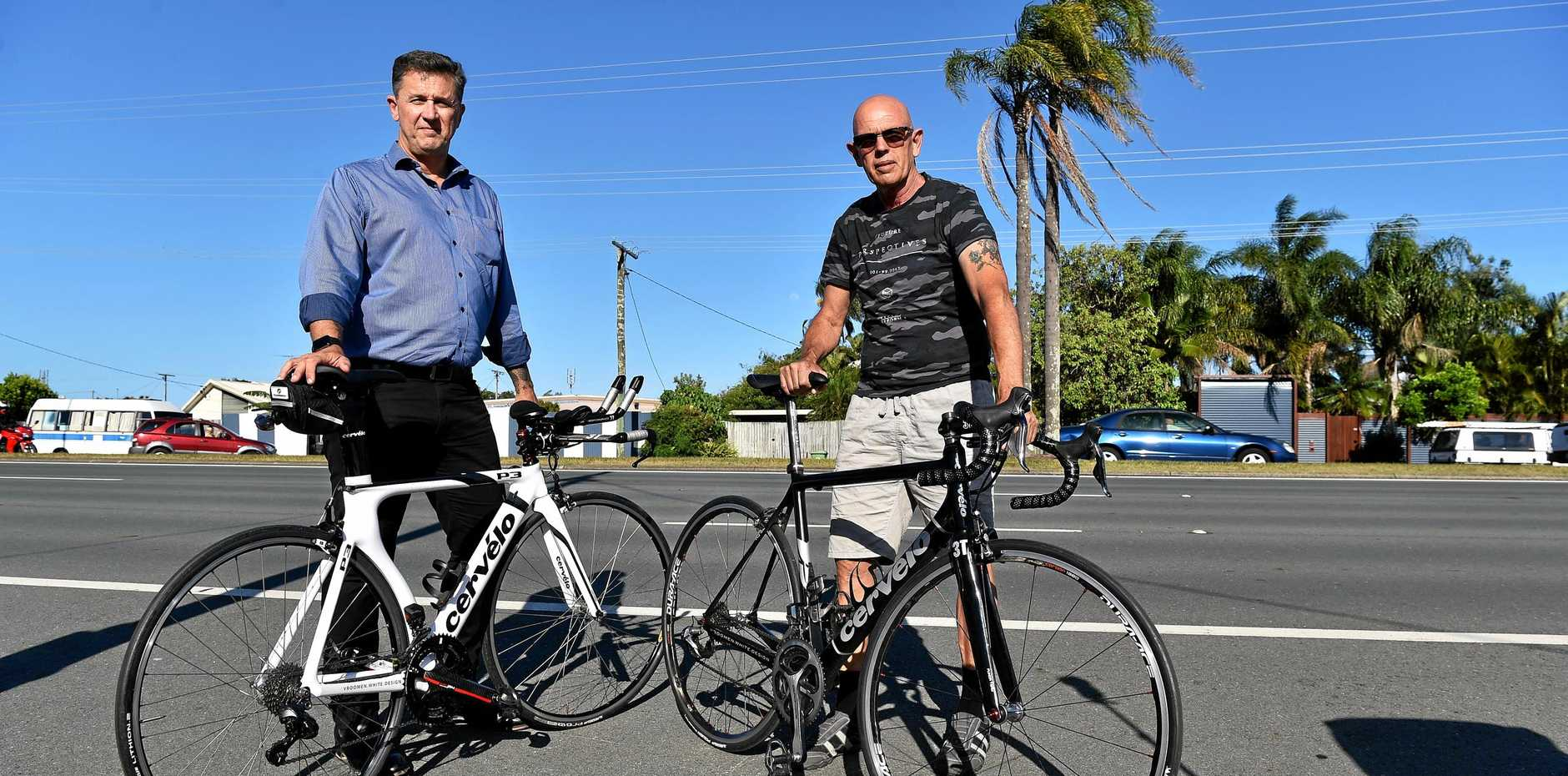 KNOW THE RULES: Mal Keeble and Rob Thompson from the Sunshine Coast Cycling Club are supporting the Unite for Cam campaign.