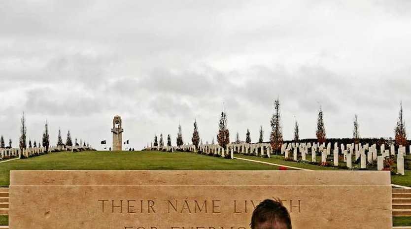 LEST WE FORGET: Paying tribute at the Australian War Memorial in Villers-Bretonneux, France on Remembrance Day .