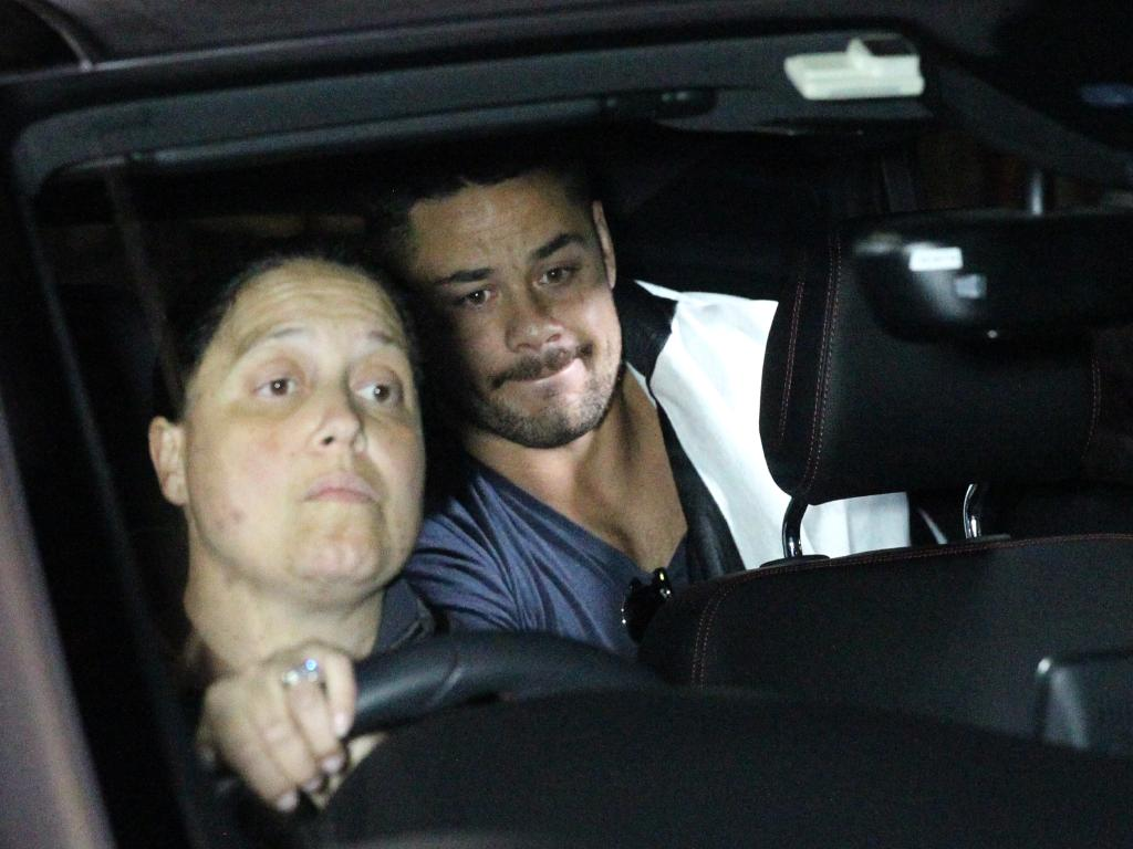 Jodie Hayne drives her son Jarryd Hayne from Ryde Police Station after he was bailed early on Tuesday morning. Picture: Bill Hearne