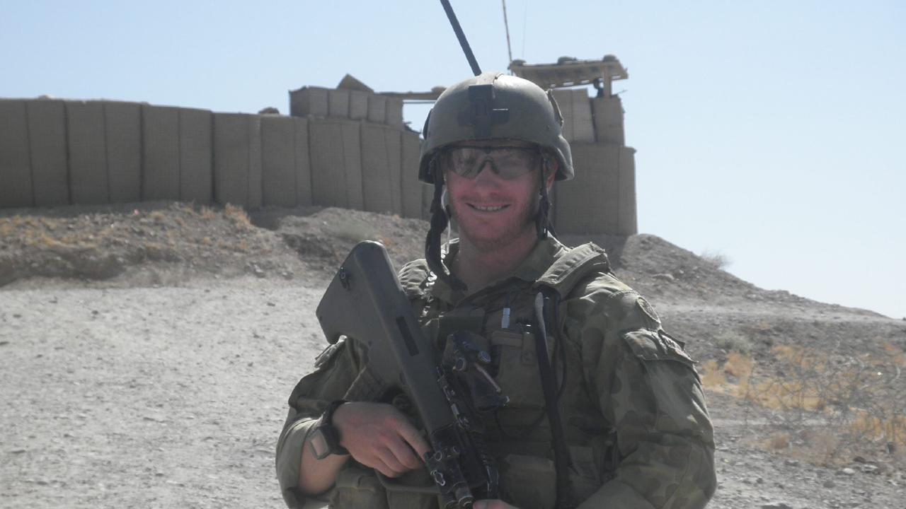 Corporal Daniel Keighran outside a patrol base in Uruzgan Province, Afghanistan in 2010.