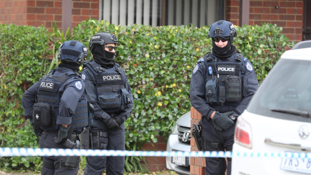 Police outside the Dallas property. Picture: Alex Coppel.