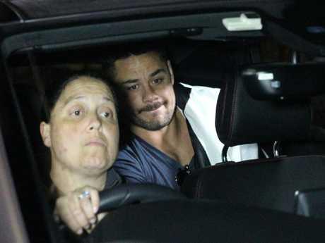 Jarryd Hayne leaves the Ryde Police Station. Picture: Bill Hearne