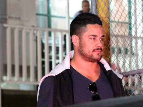 Jarryd Hayne leaves Ryde Police Station after being charged. Picture: Bill Hearne