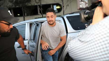 Jarryd Hayne as he arriving to report to Castle Hill Police as part of his bail conditions. Picture: Damian Shaw