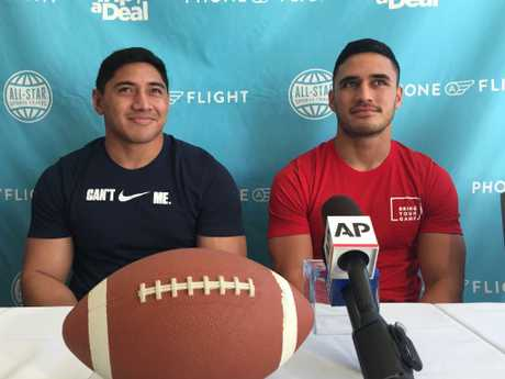 Jason Taumalolo (left) and Valentine Holmes (Right) after trialling with NFL teams in 2016.